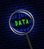 """""""DATA"""" revealed in computer code through a magnifying glass — Stock Photo"""
