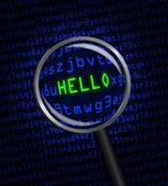 """""""你好""""揭示了在计算机代码中通过放大镜 — 图库照片"""