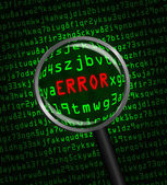 """""""ERROR"""" revealed in computer code through a magnifying glass — Stock Photo"""