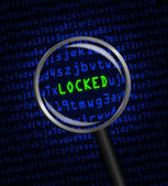 """""""LOCKED"""" revealed in computer code through a magnifying glass — 图库照片"""