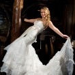 Bride in a white dress - Stock Photo