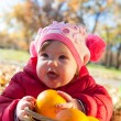 Child on a picnic. autumn — Stock Photo