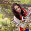 Beautiful young girl in the autumn forest — Foto Stock