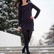 Beautiful young brunette goes down the snow-covered stairs — Stock Photo