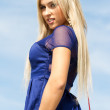 Blonde in a blue dress — Stock Photo #46251463
