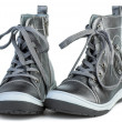 Pair of dark-gray leather boots — Stock Photo