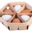 Thin wood egg box with six eggs — Stock Photo