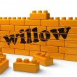 Word on yellow wall — Stock Photo