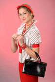 Lady with purse — Stock Photo