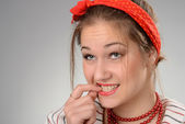Close up the young woman — Stock Photo