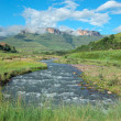 Tugela river and  mountains - Stock Photo