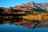 Sandstone mountains and reflection — Stock Photo