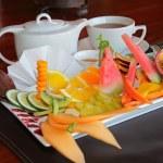 Fruit platter with tea — Stock Photo #49871121