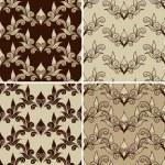 4 Vectro Seamless Vintage Pattern — Stock Vector