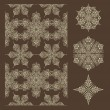 Vector Seamless Winter Pattern and Snowflake Design Elements — Stock Vector