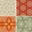 4 Vector Seamless Winter Patterns with  Snowflakes - Stock Vector