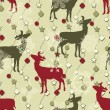Vector Winter Seamless Pattern with Christmas Decoration, Deers, — Stock Vector