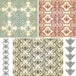 2 Vector Seamless Vintage Floral Patternsand 2 Retro Brushes - Stock Vector
