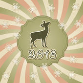 Vector New Year Greeting Card with Deer — Stock Vector