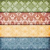 Vector inconsútil floral confina con textura de papel arrugado — Vector de stock