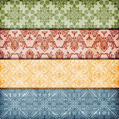 Vector seamless floral borders on crumpled paper texture — Vettoriale Stock