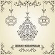 Royalty-Free Stock Vector Image: Vector Vintage Christmas Greeting Card with Fir Tree Balls