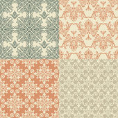 Vector Seamless Vintage Wallpaper Patterns — Stock Vector