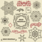 Vector Vintage Highly Detailed Snowflake — Stock Vector
