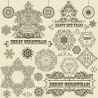 Vector Vintage Christmas Design Elements — Stock Vector