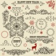 Stock Vector: Vector vintage holiday floral design elements and snowflakes