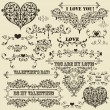 Stock Vector: Vector Vintage Valentine's Design Elements