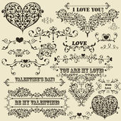 Vector Vintage Valentine's Design Elements — Stock Vector