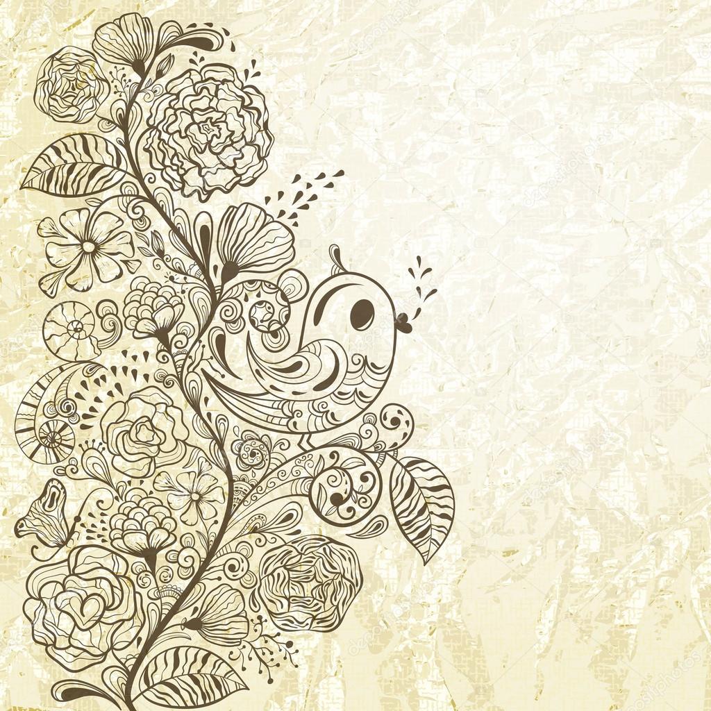 矢量春天花纹上皱折纹理的纸张