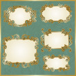 Vector floral swirly golden frames - Vettoriali Stock