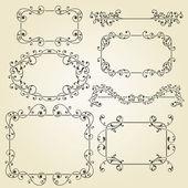 Vector lacy vintage floral design elements — Stock Vector
