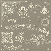 Vector vintage floral design elements — Stock Vector