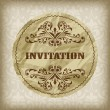 Vector vintage invitation card on seamless attern — Stock Vector #27984235