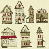 7 eski tarz evler — Stok Vektör
