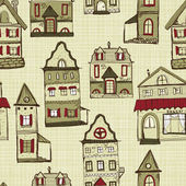 Vector seamless pattern with houses — Stock Vector