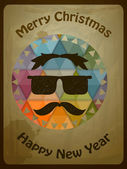 Hipster Christmas Greeting Card — Stock Vector