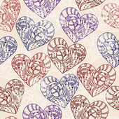 Vector Seamless Pattern with Hand Drawn Hearts — Stock Vector