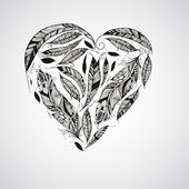 Vector Heart made of  Feathers — Vector de stock