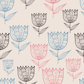 Seamless Doodle Tulips Pattern — Vettoriale Stock