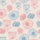 Doodle seamless pattern floreale — Vettoriale Stock