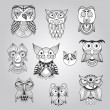 Set of Ten Doodle Owls — Stock Vector #49999503