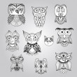 Set of Ten Doodle Owls — Vector de stock  #49999503