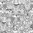 Seamless Pattern with Doodle owls — Stok Vektör #49999533
