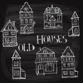 Seven old styled houses — Stock Vector