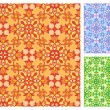 Seamless floral pattern in different color schemes — Stock Vector