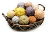 Colorfull wooll yarn balls — Stock Photo